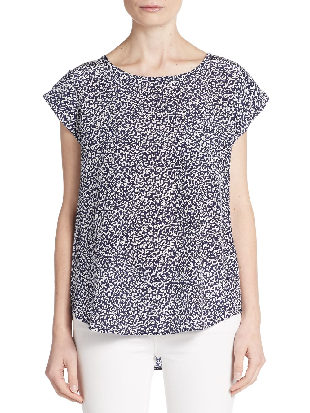 457b2d90d85a Lyst - Joie Rancher Animal-print Silk Top in Blue