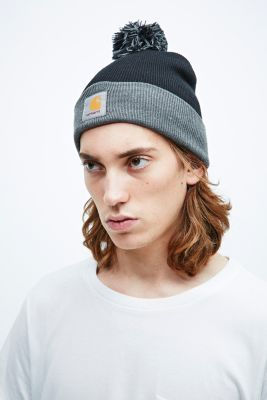 Carhartt Bobble Watch Hat Beanie in Black and Grey in Black for Men ... 84b9becff56e