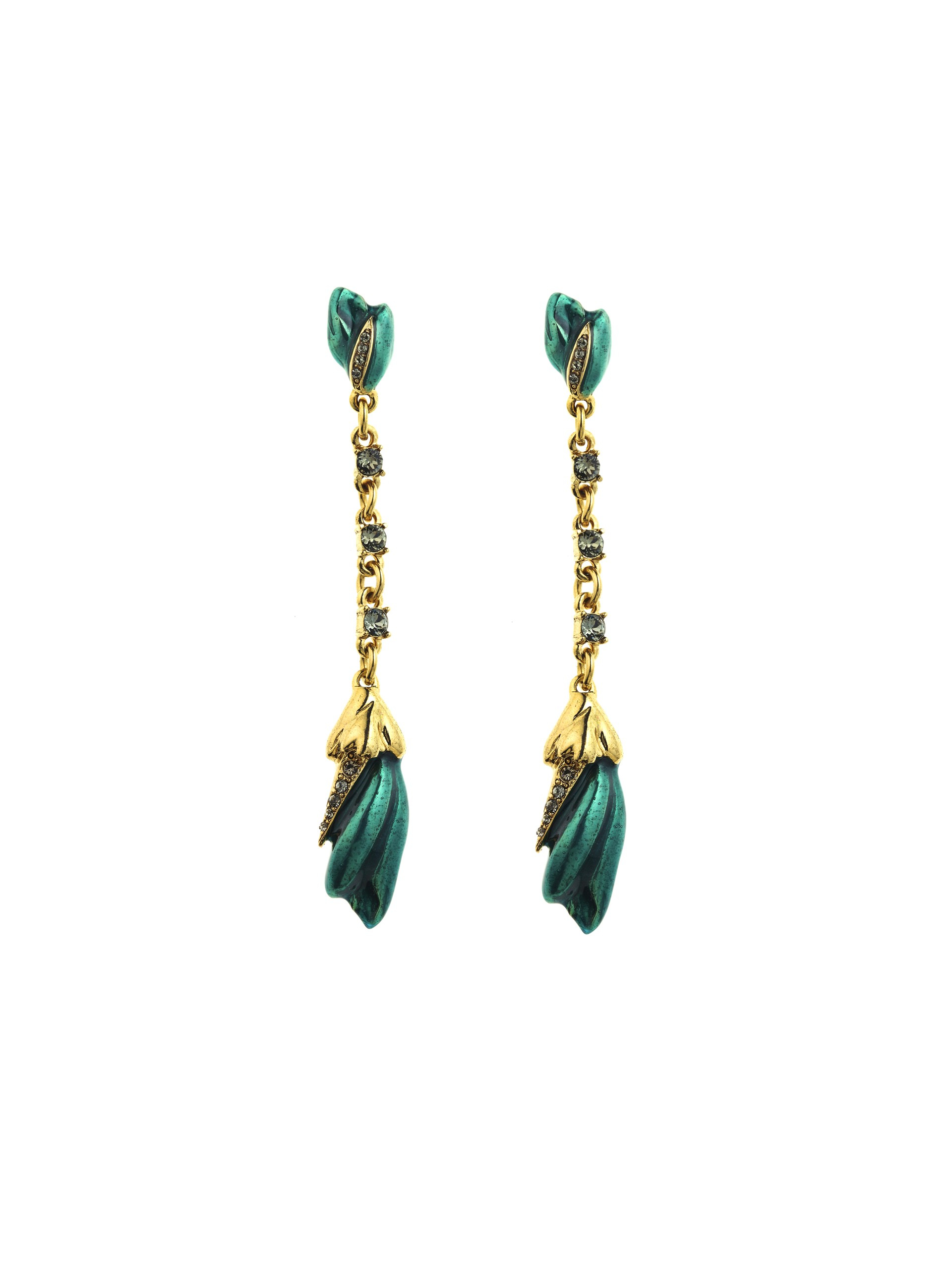 291ec005ac46 Lyst - Oscar de la Renta Teal Tulip Pave Drop Earrings in Blue