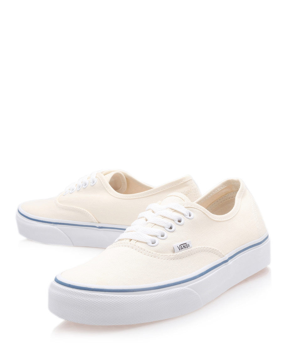 vans authentic canvas plimsolls in beige