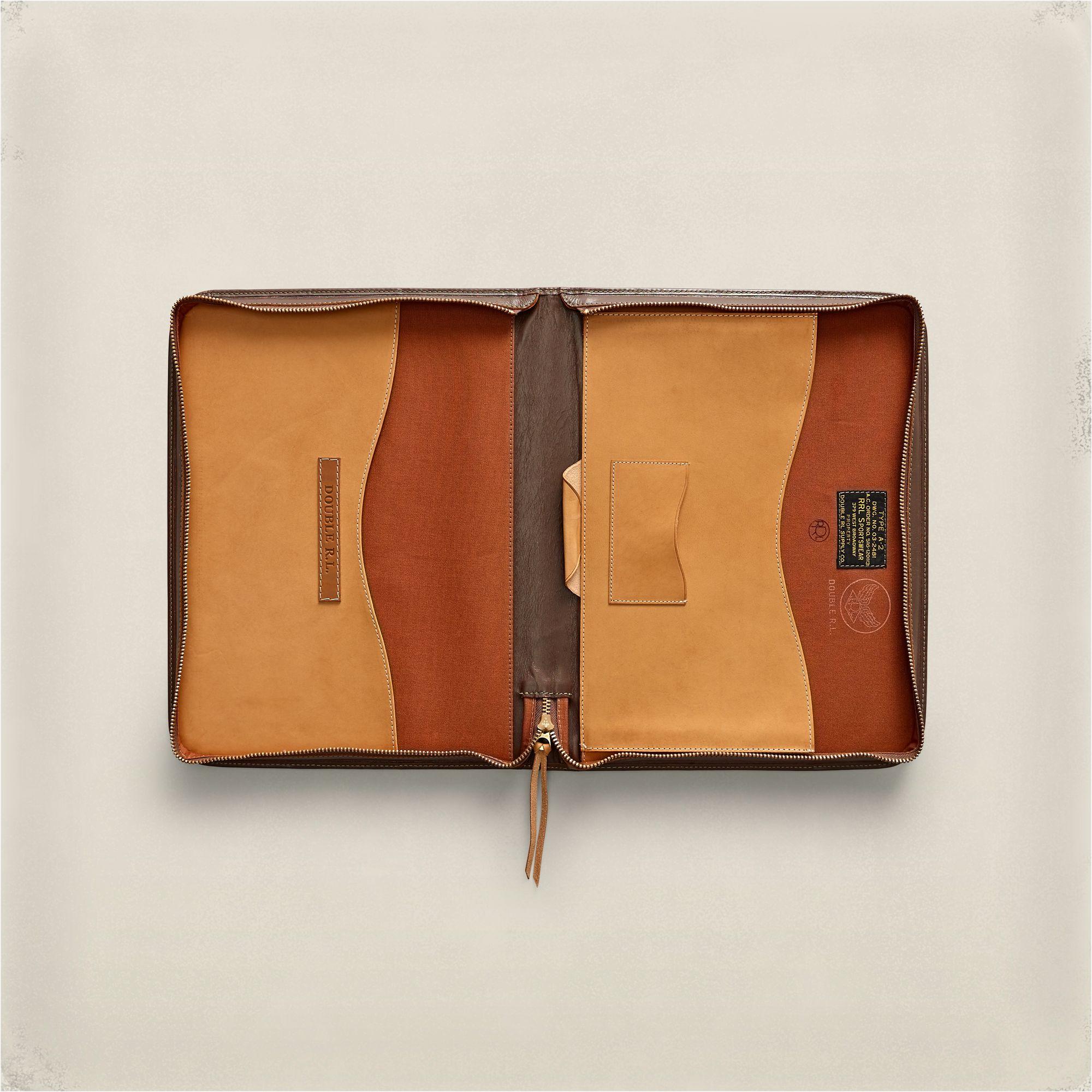 27e1adf531 RRL A-2 Leather Portfolio in Brown for Men - Lyst