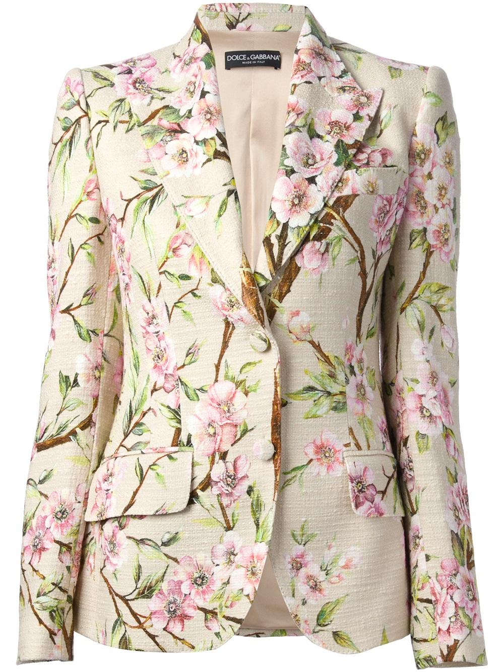 c62e6b3bdfa Dolce & Gabbana Floral Print Blazer in Natural - Lyst