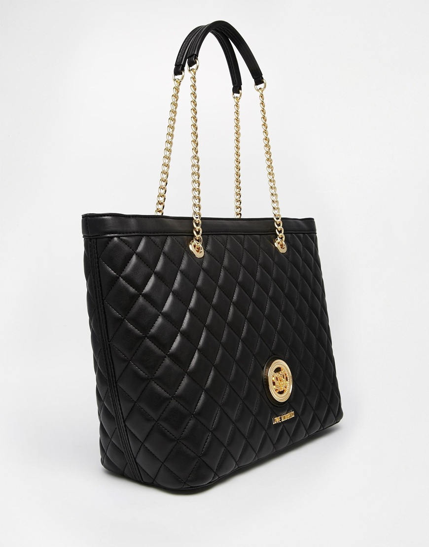 love moschino quilted tote bag in black in black lyst. Black Bedroom Furniture Sets. Home Design Ideas