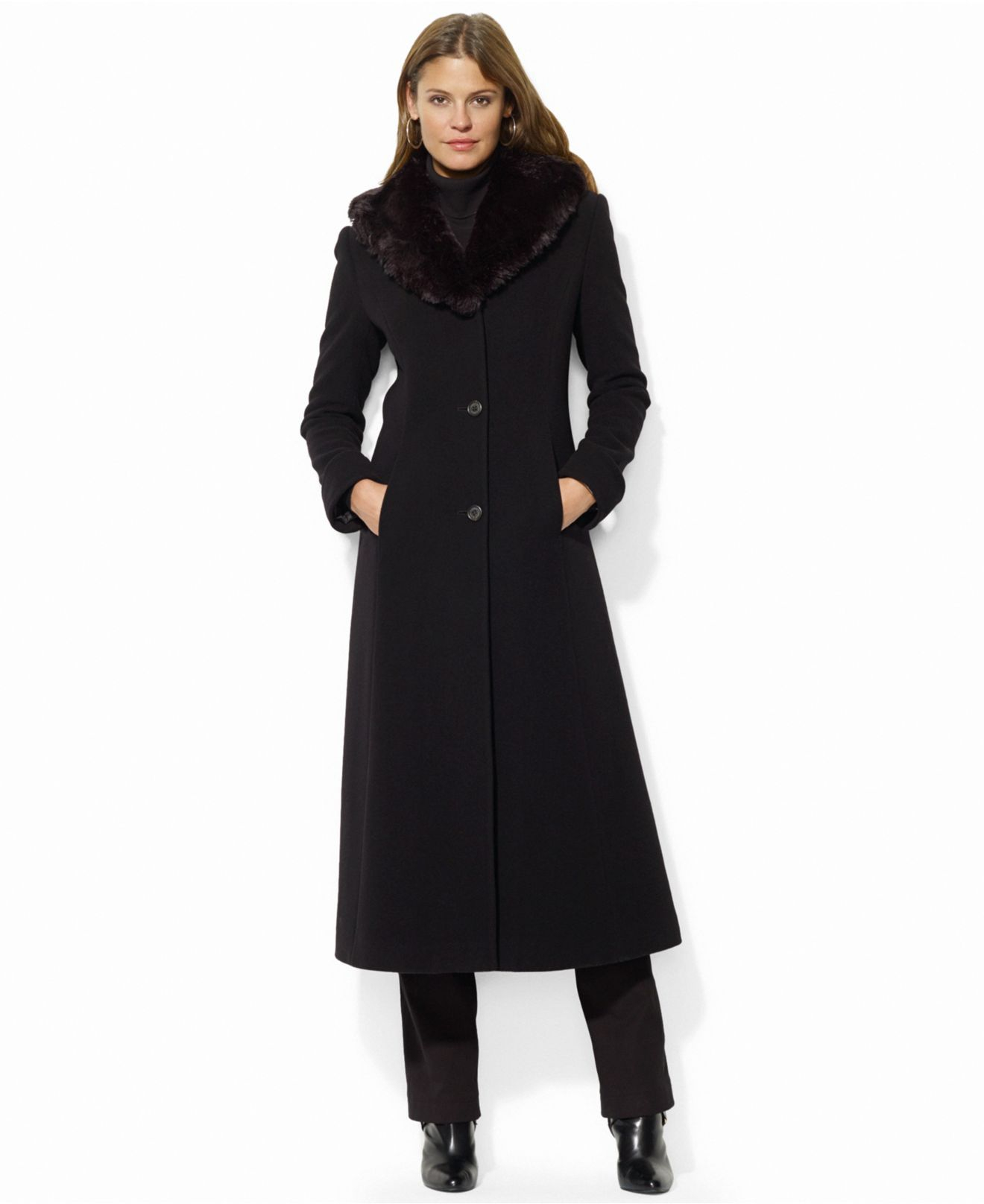 Lauren by ralph lauren Wool-Cashmere-Blend Faux-Fur-Collar Maxi