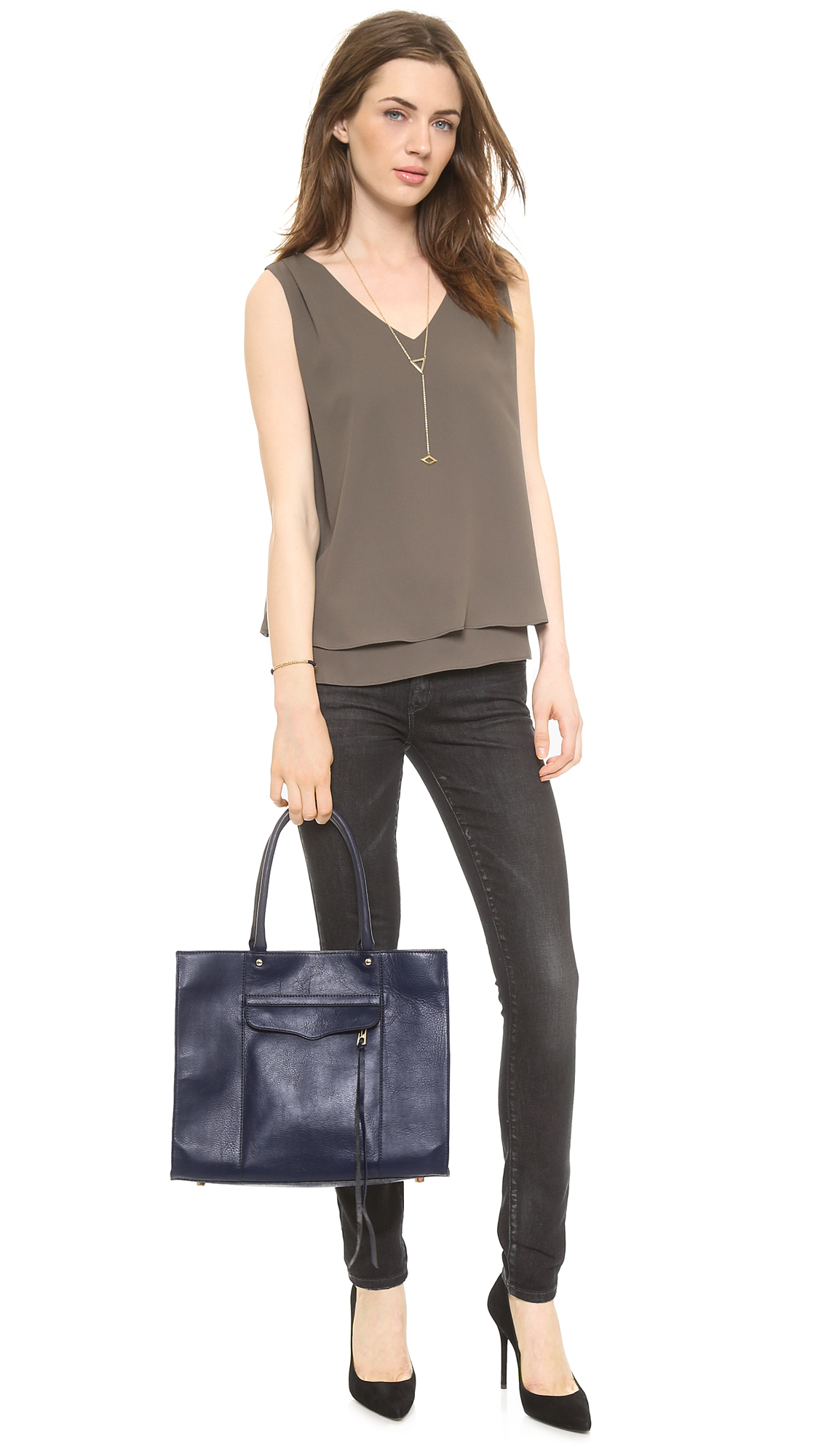 Rebecca Minkoff Medium Mab Tote Black Cherry In Blue Lyst