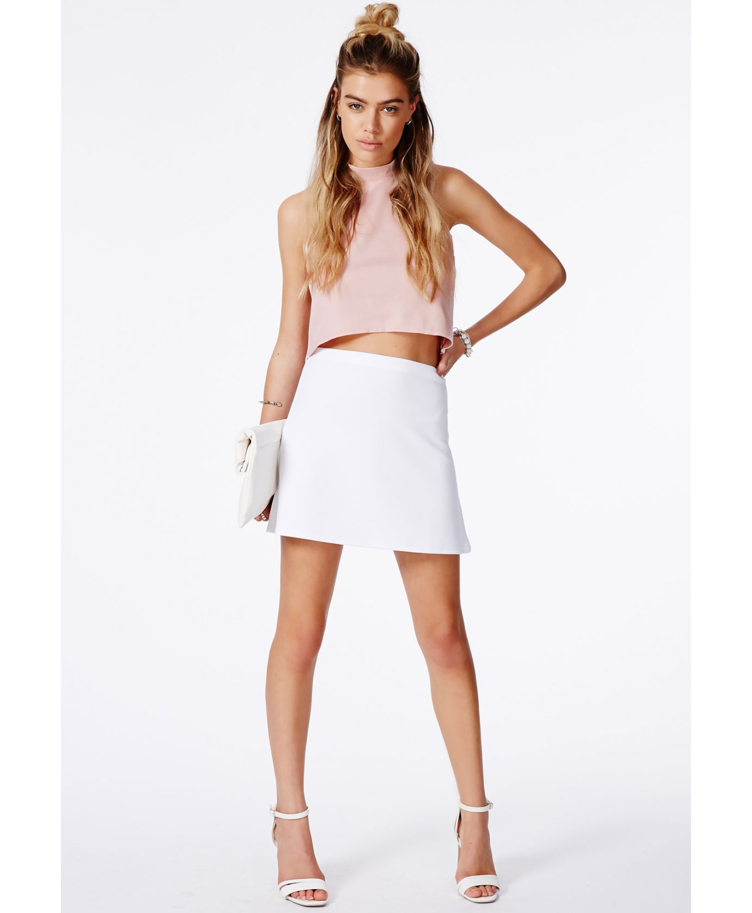 19caa5783c625 Missguided Dafiya Satin Feel Crop Top with Curved Hem in Pink - Lyst