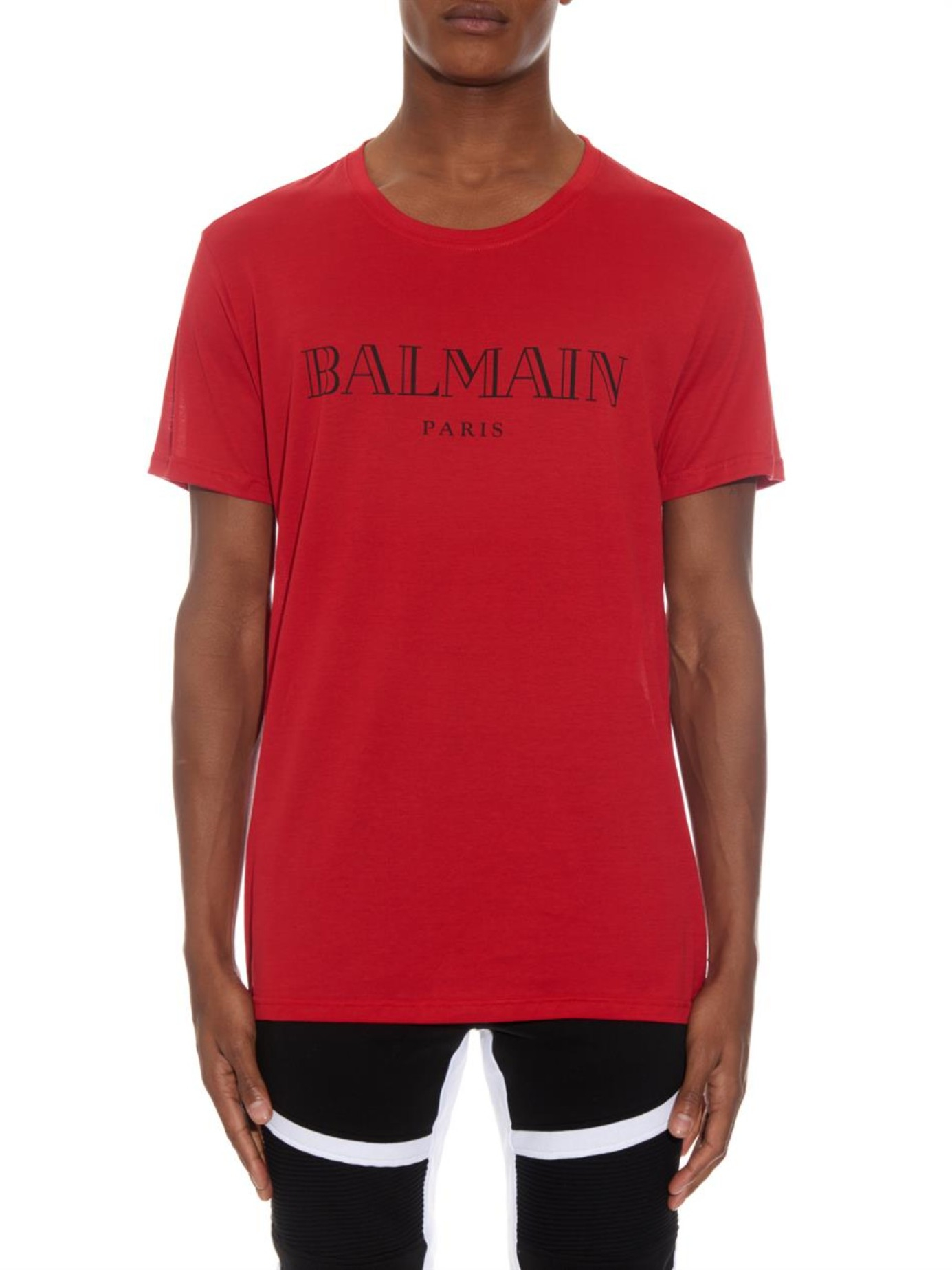 balmain logo print cotton t shirt in red for men lyst. Black Bedroom Furniture Sets. Home Design Ideas