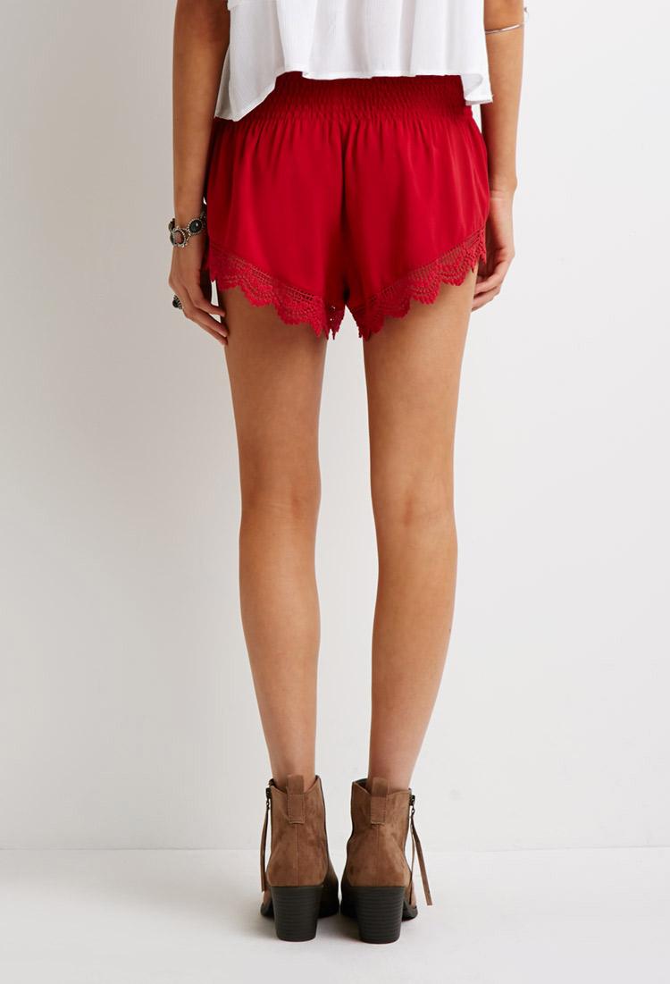 Forever 21 Crochet Trim Smocked Shorts in Red | Lyst