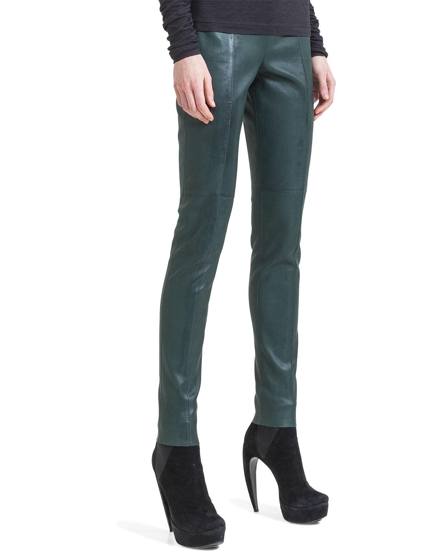 3f949bcbdb3 Lyst - Akris Slim Stretch Napa Leather Pants in Green