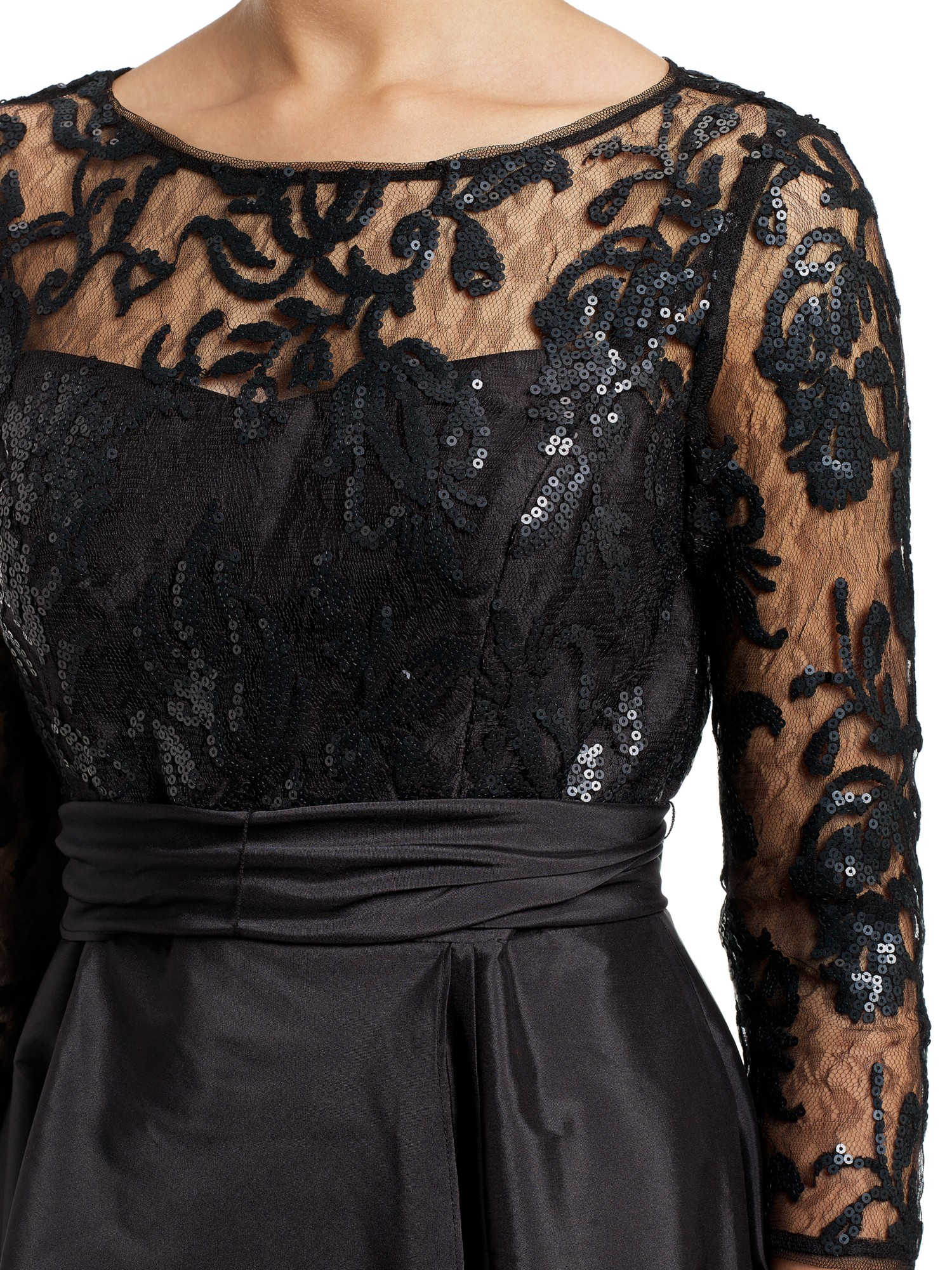 b7b699f8503a3c Adrianna Papell Sequin Illusion Taffeta Gown in Black - Lyst