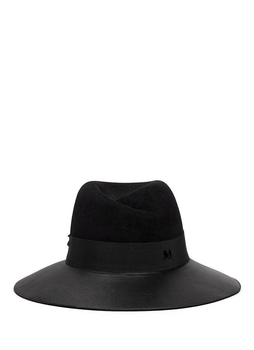 Lyst maison michel 39 virginie 39 swirl pinch leather brim for Maison michel