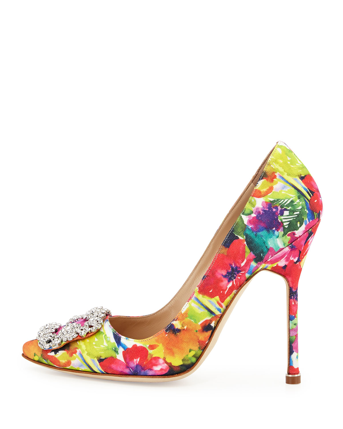 b464838742f Manolo blahnik Hangisi Floral-print 115mm Satin Pump in .