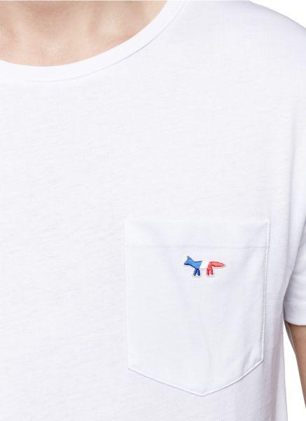 Maison kitsuné logo embroidery chest pocket tshirt in