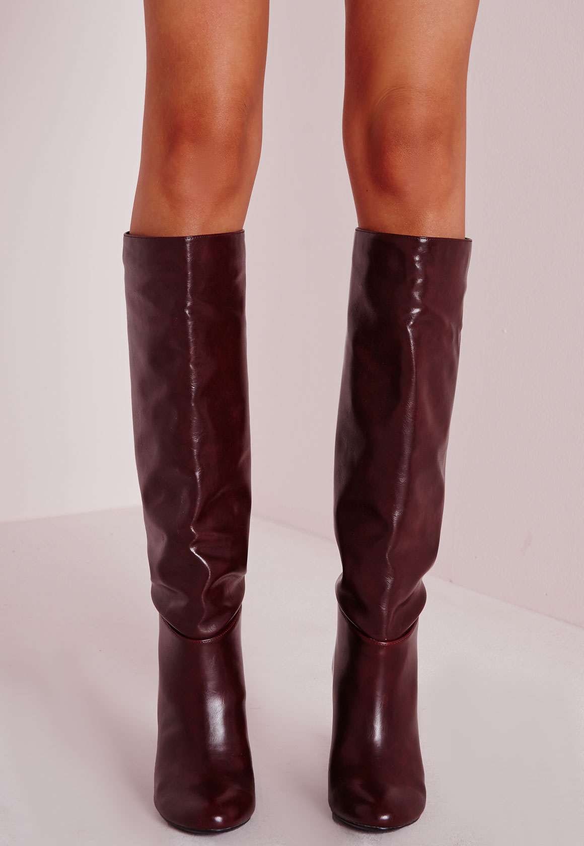 6c0a38aa55b Lyst - Missguided High Leg Patent Boots Burgundy in Purple