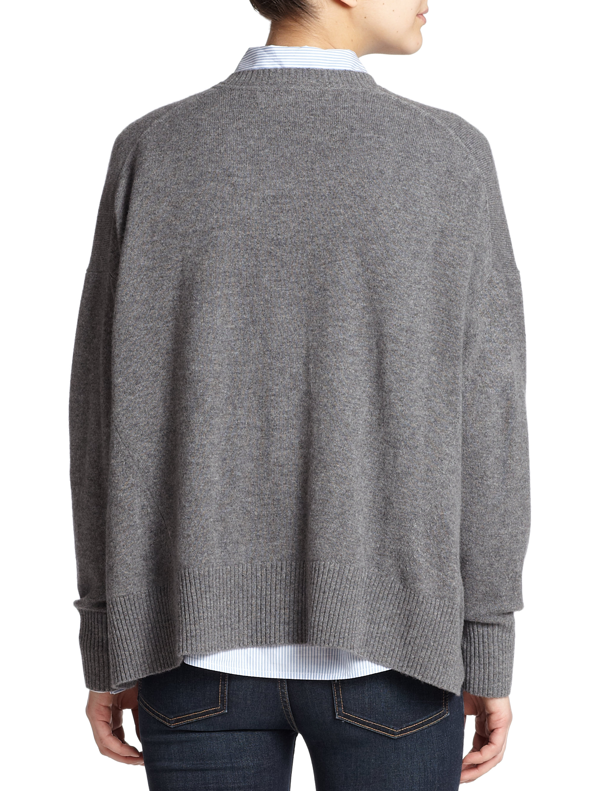 marc by marc jacobs cropped cashmere sweater in gray grey lyst. Black Bedroom Furniture Sets. Home Design Ideas