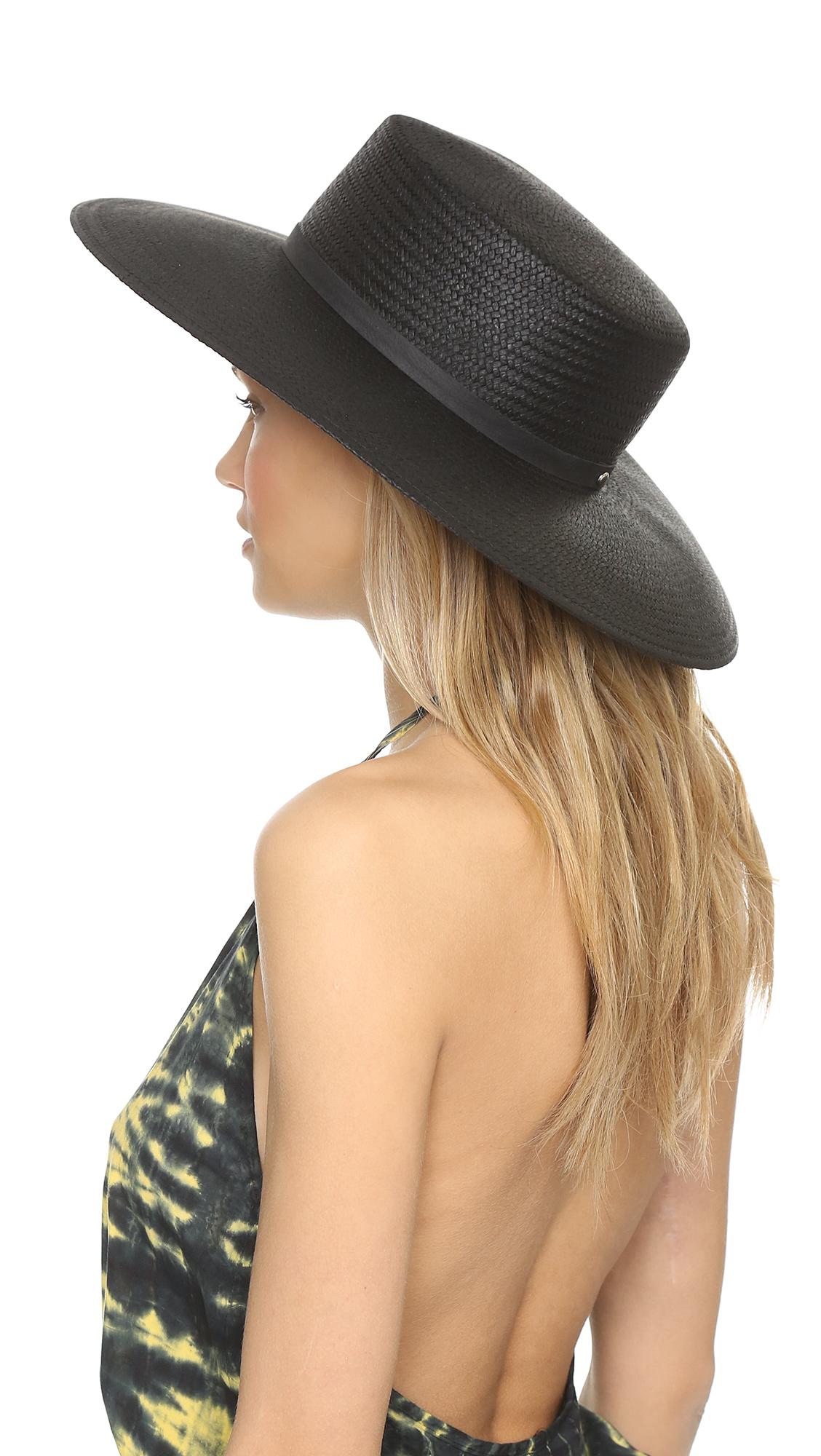 Lyst - Janessa Leone Jalk Hat - Black in Black 7ba645686fde