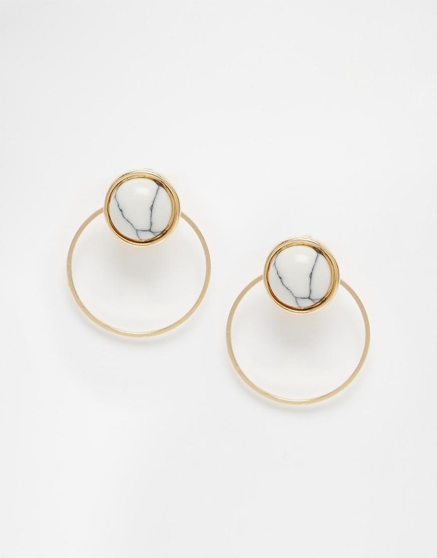 Asos Semi Precious Circle Front Back Earrings In Metallic Lyst