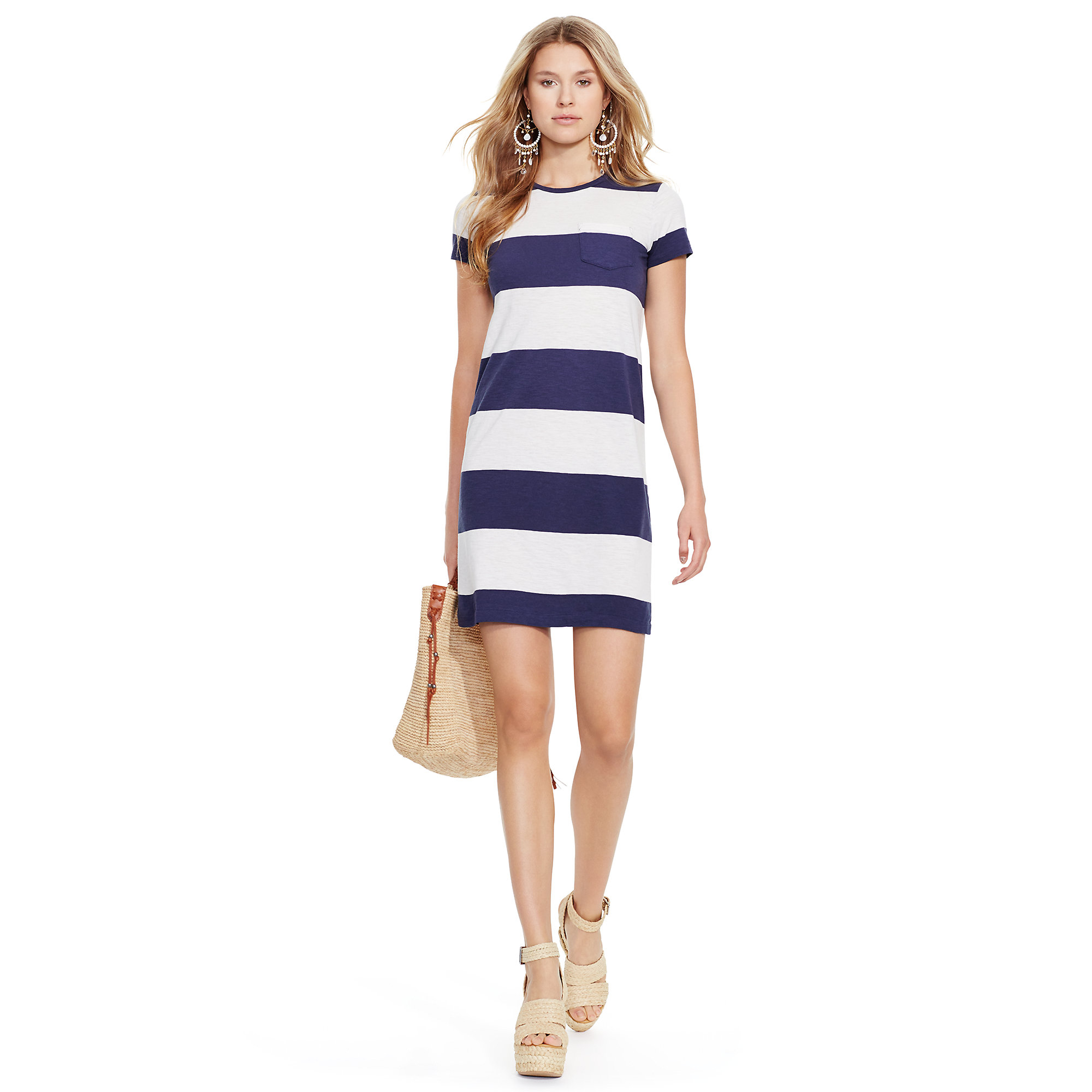 Lyst - Polo Ralph Lauren Striped Cotton Tee Dress in Blue