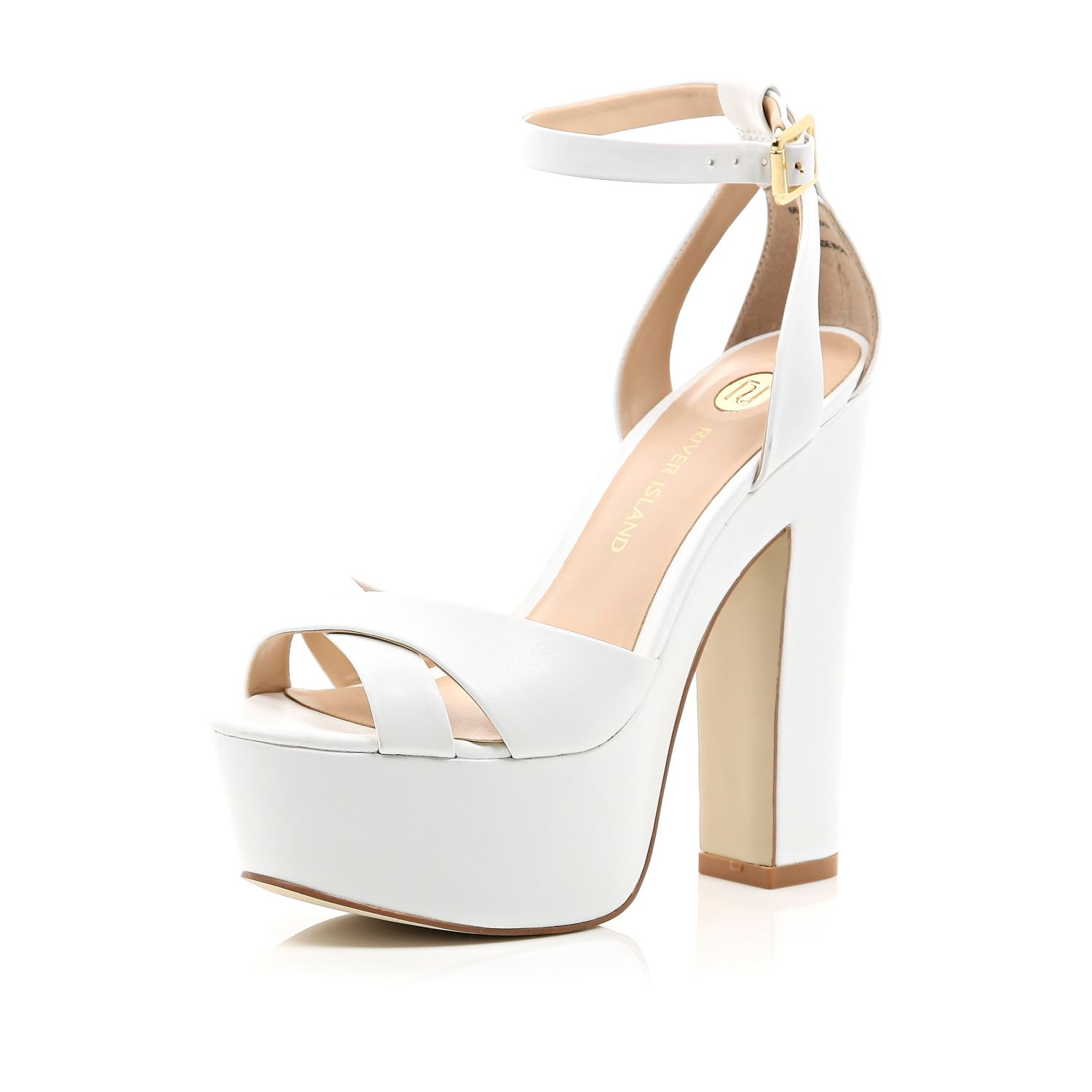 Lyst - River island White Leather Chunky Block Platform Heels in White