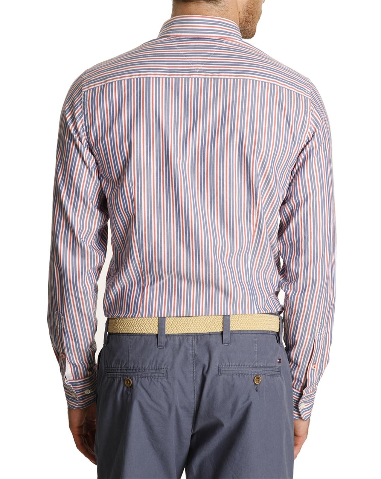 Tommy Hilfiger Blue And Red Striped Button Down Shirt In
