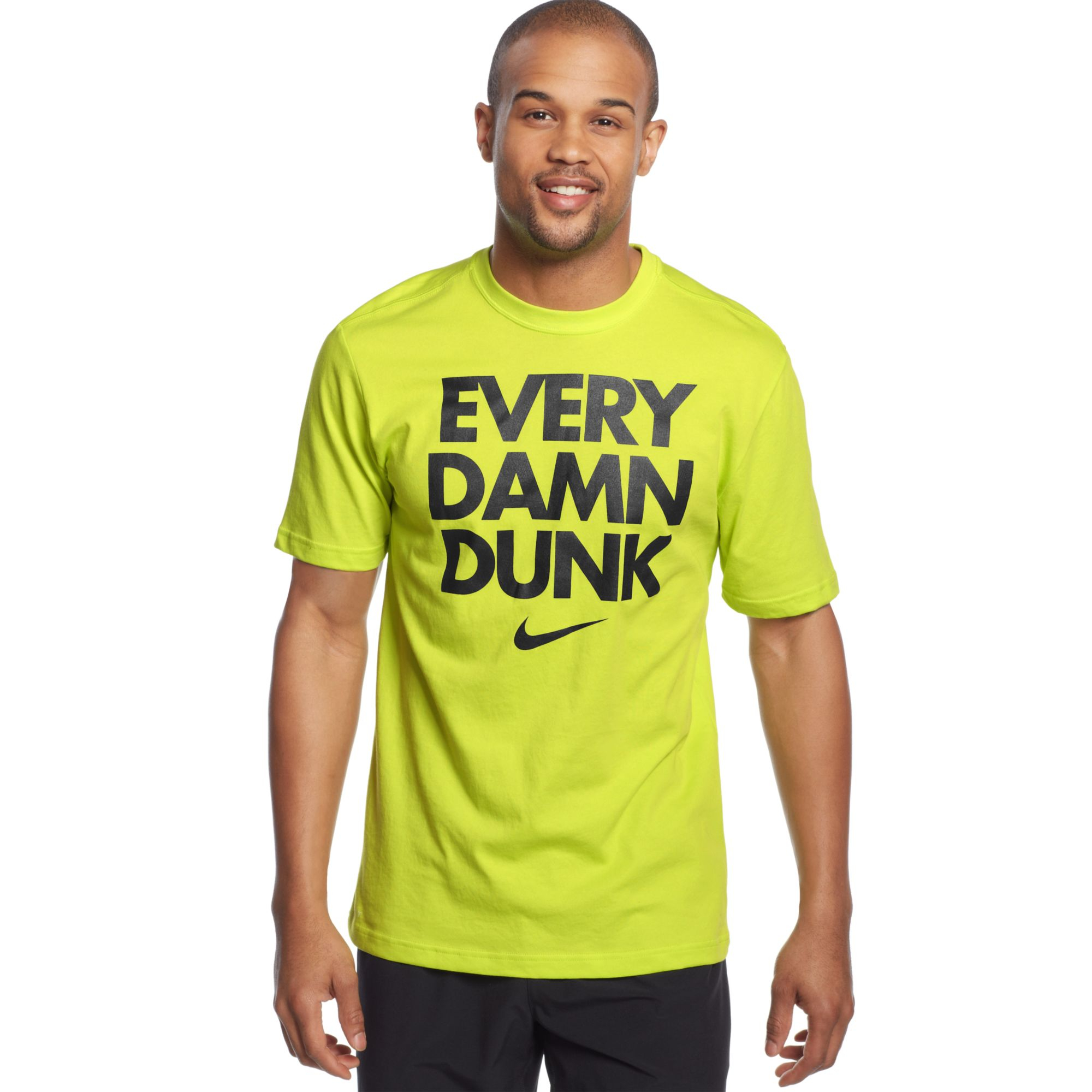 nike every damn dunk tshirt in green for men cyberblack