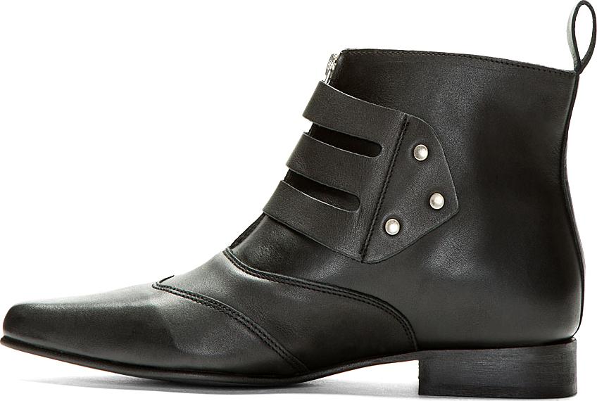 Lyst Underground Black Leather Blitz Winklepicker Ankle