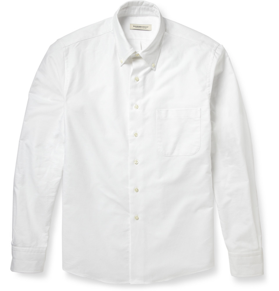 Raleigh denim buttondown collar cotton oxford shirt in for Mens white oxford button down shirt