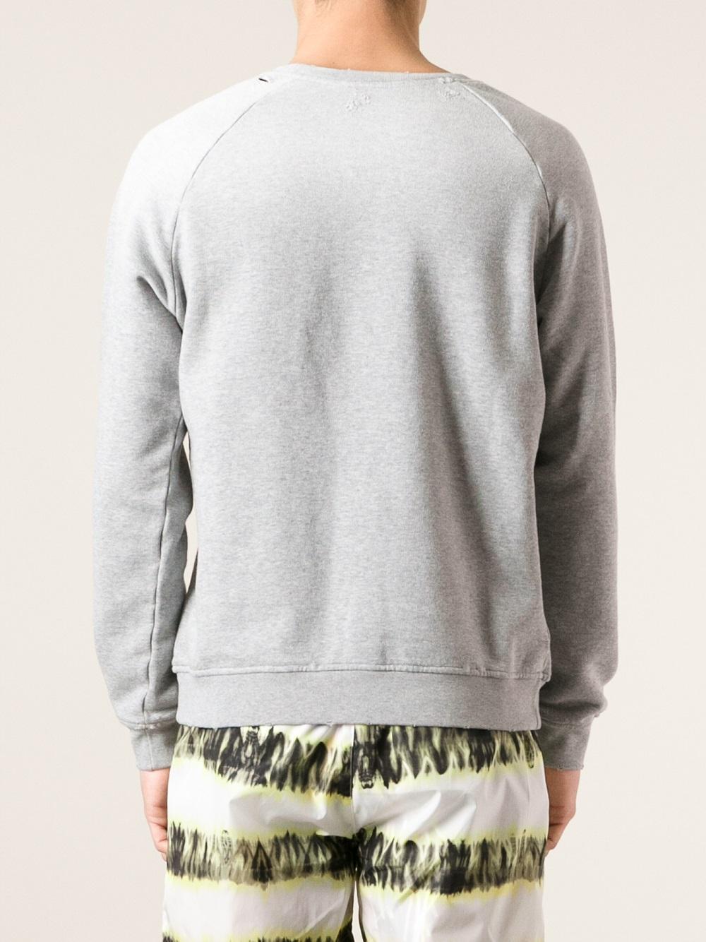 Lyst Msgm Logo Print Sweatshirt In Gray For Men