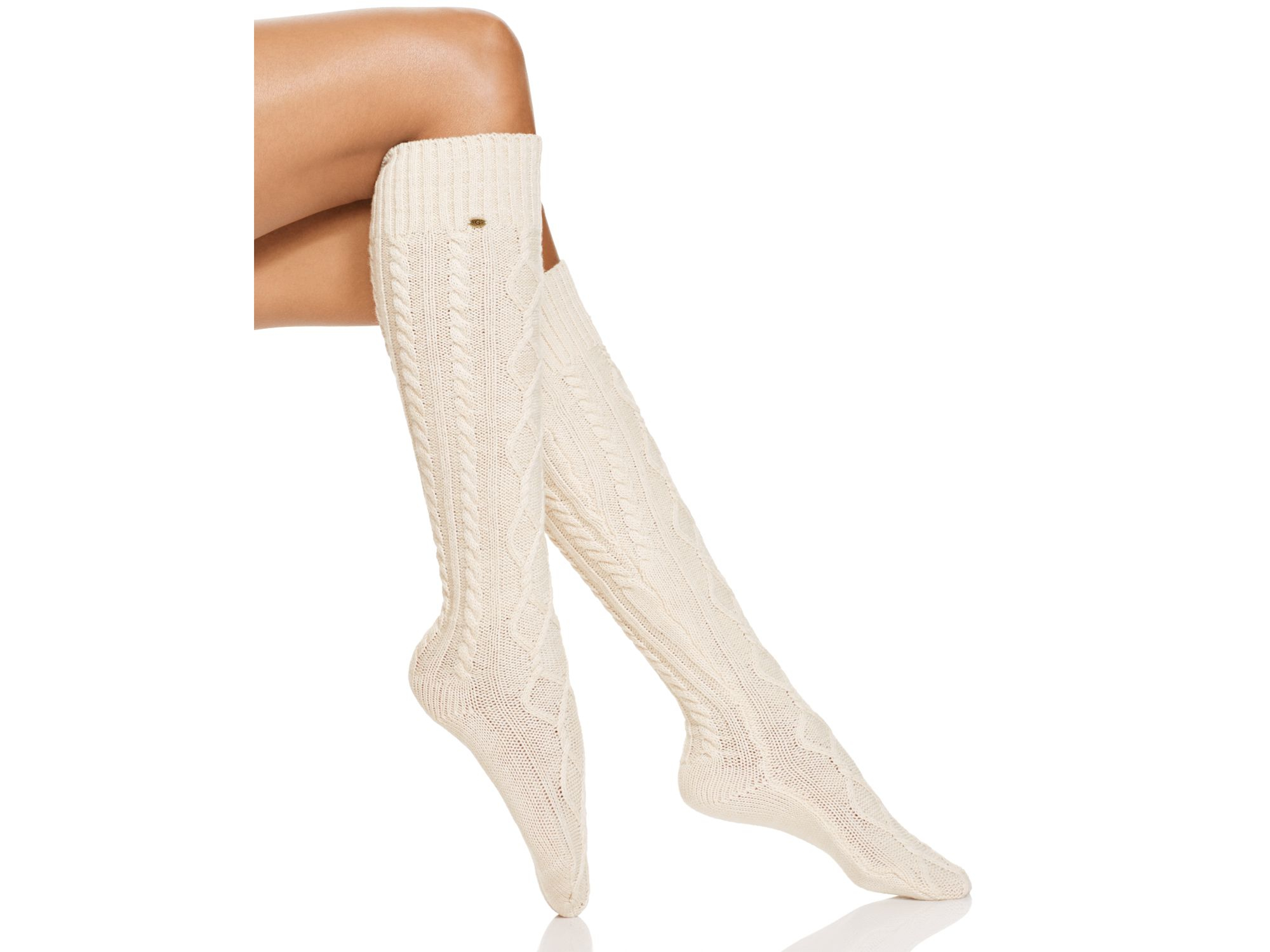 Lyst Ugg 174 Classic Cable Knit Knee High Socks In Natural