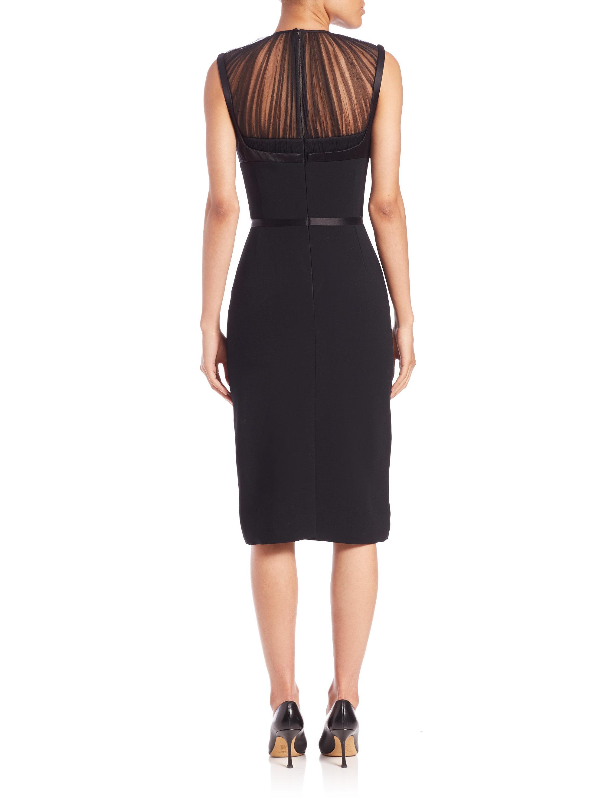 Alexander Mcqueen Sheer Top Sheath Dress In Black Lyst
