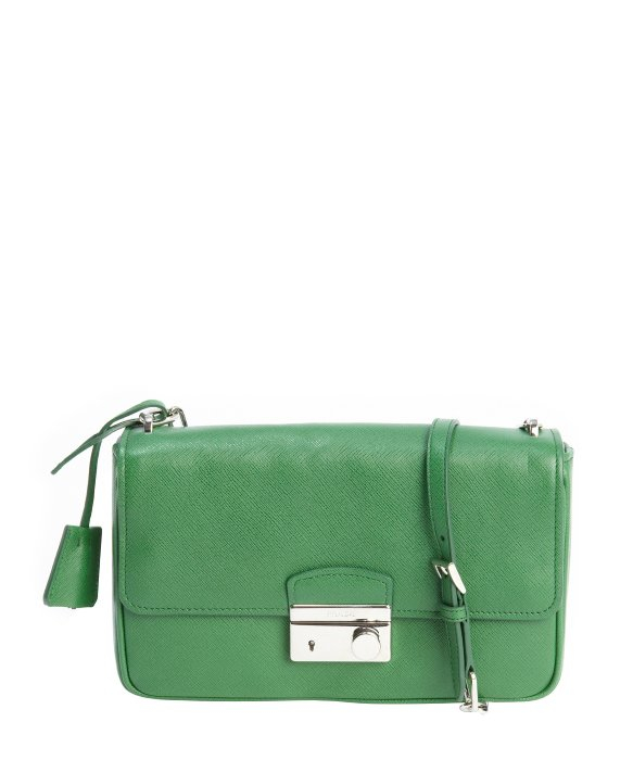 Prada Green Saffiano Leather Chainlink Shoulder Bag in Green | Lyst