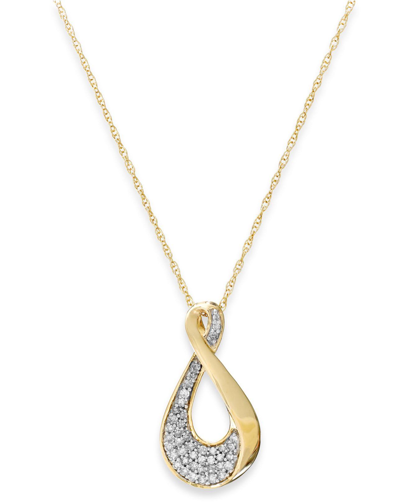macy s cubic zirconia swirl pendant necklace in 10k gold