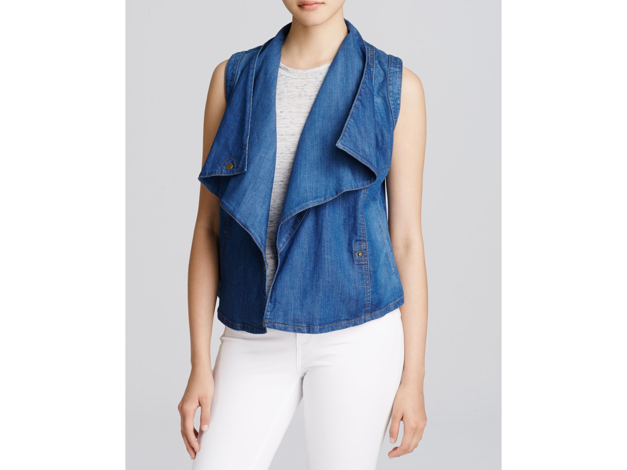 ff1461f3033132 Lyst - Kut From The Kloth Drape-front Denim Vest in Blue