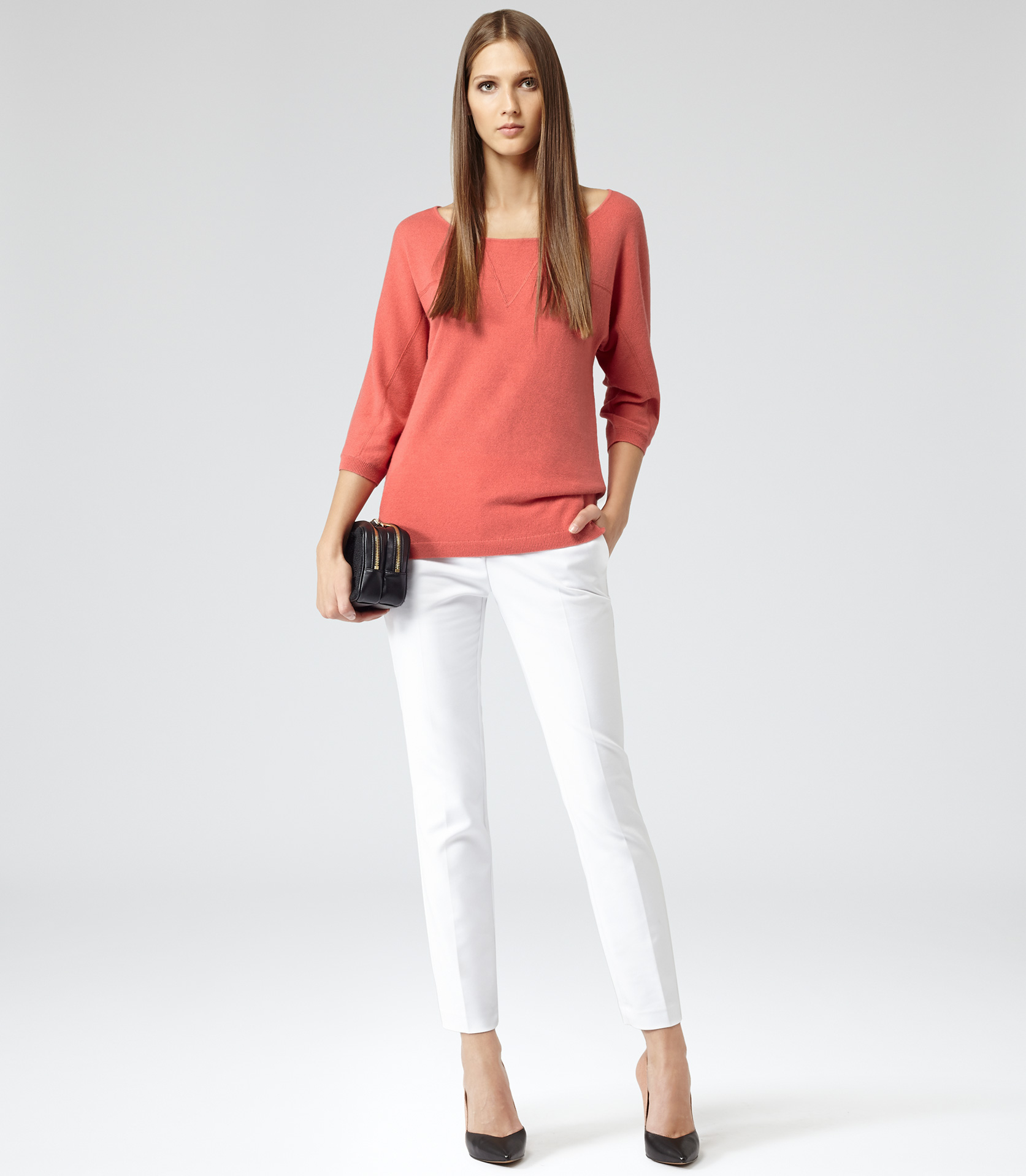 Reiss Calico Oversized Crew Jumper in Red - Lyst