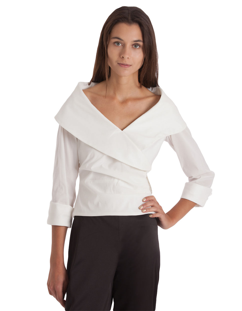 js collections shawl collar surplice blouse in white lyst