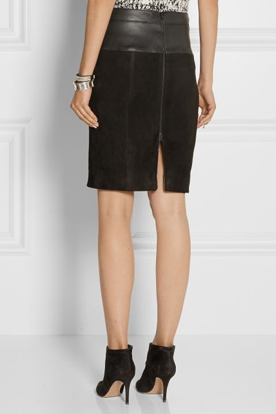 Narciso Rodriguez Leathertrimmed Suede Pencil Skirt In
