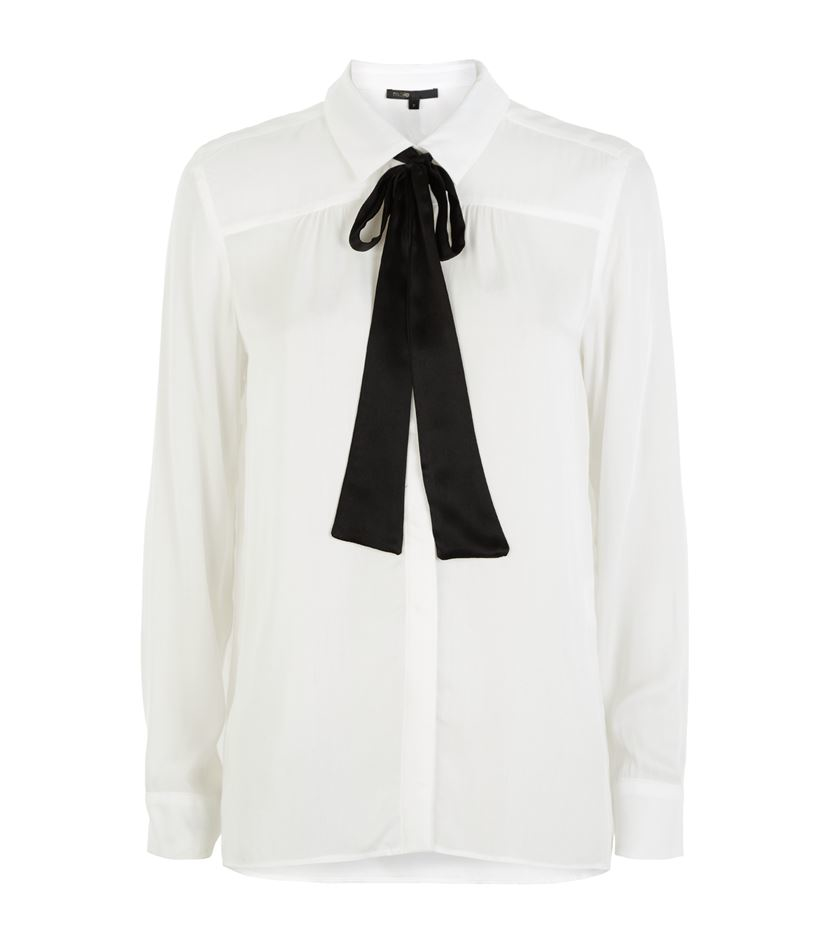 50b049df57e078 Maje Colette Tie Neck Shirt in White - Lyst