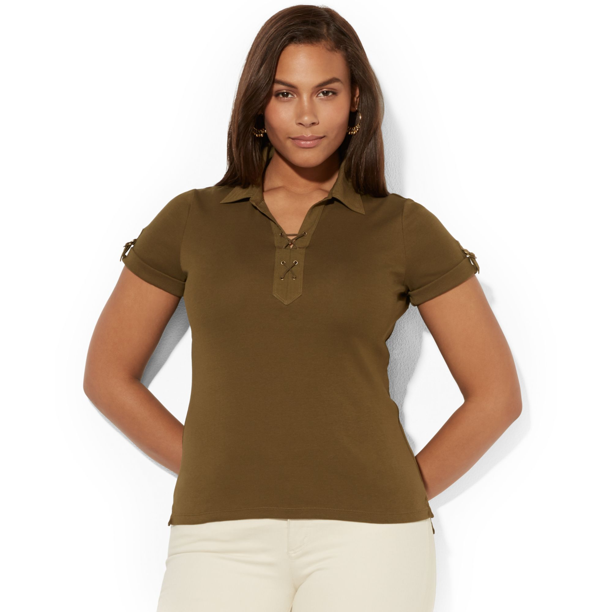 Lauren by ralph lauren plus size laceup polo shirt in for Plus size polo shirts ladies