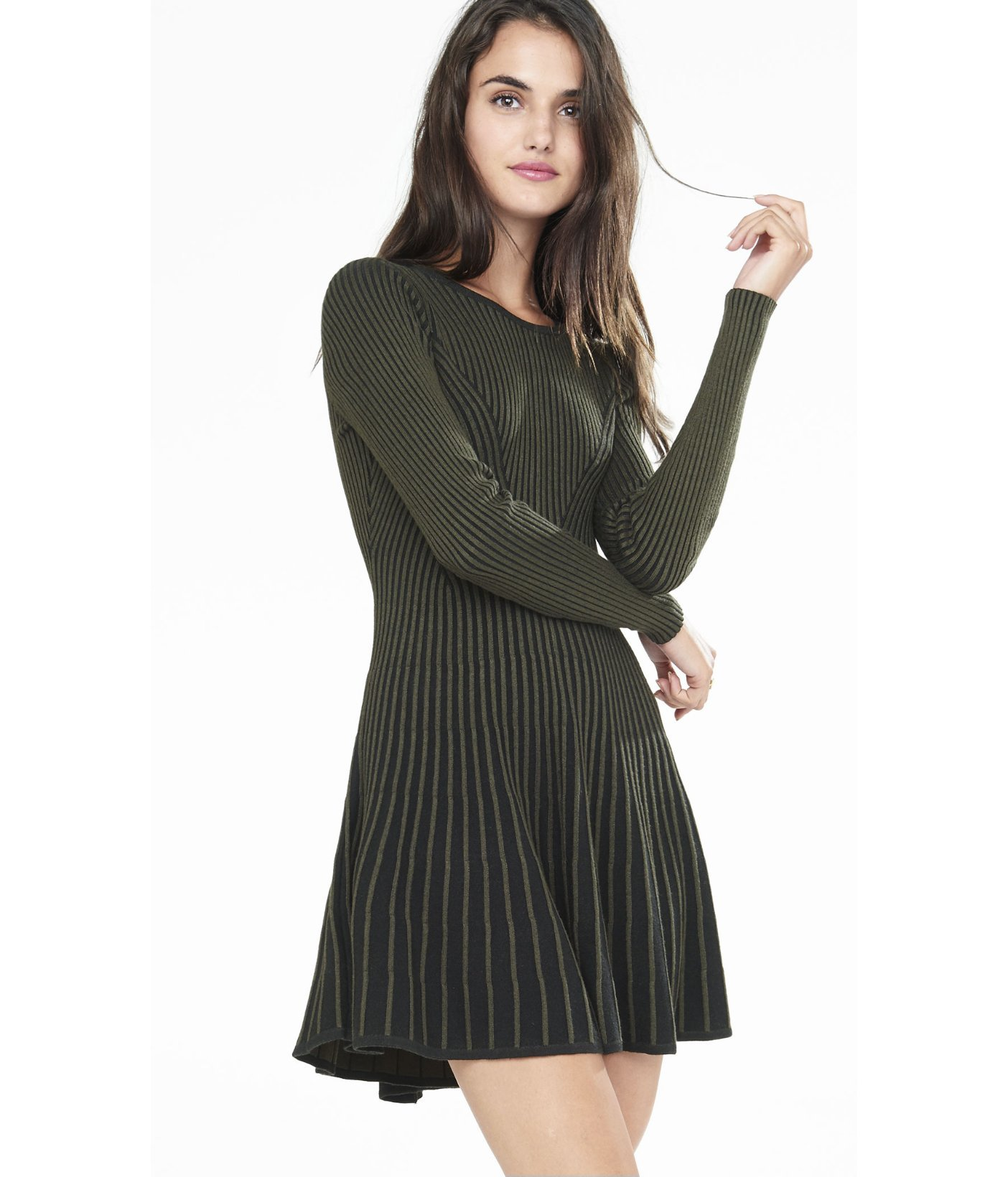 Lyst Express Olive And Navy Plaited Fit And Flare