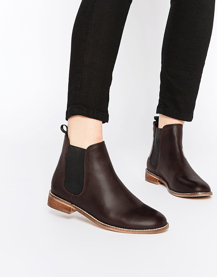 Asos Airbound Leather Chelsea Ankle Boots in Purple | Lyst