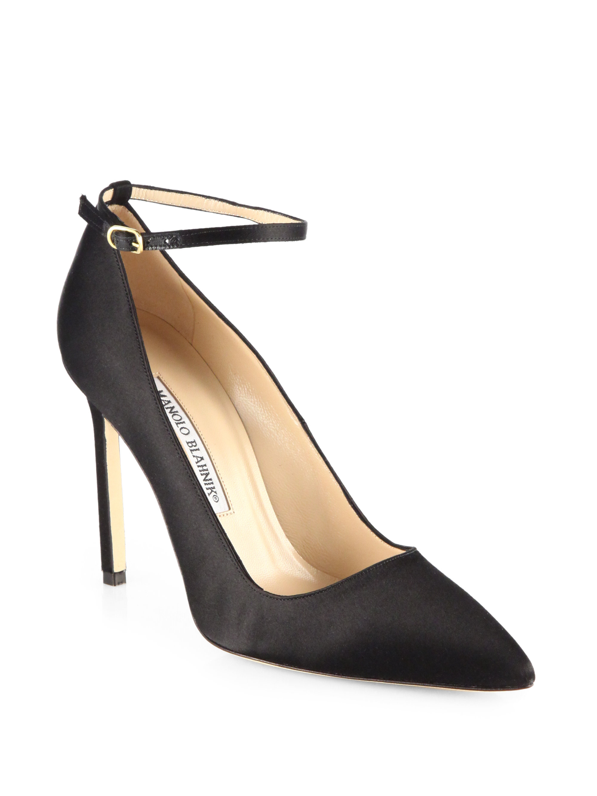best sale sale online Manolo Blahnik Satin Ankle-Strap Pumps buy cheap popular P6SO04GL