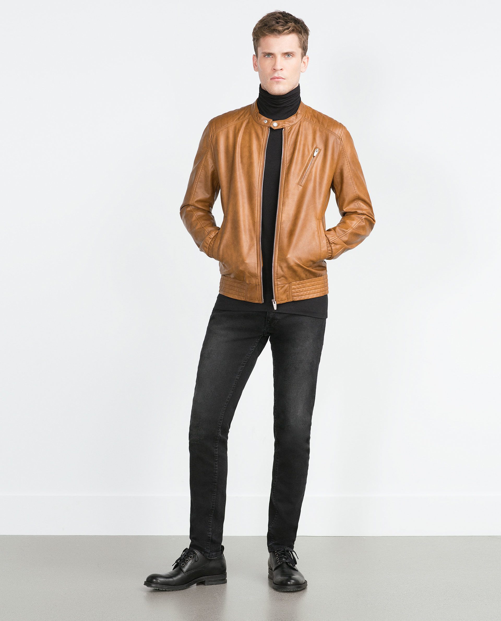 Zara Tan Faux Leather Jacket in Brown for Men | Lyst