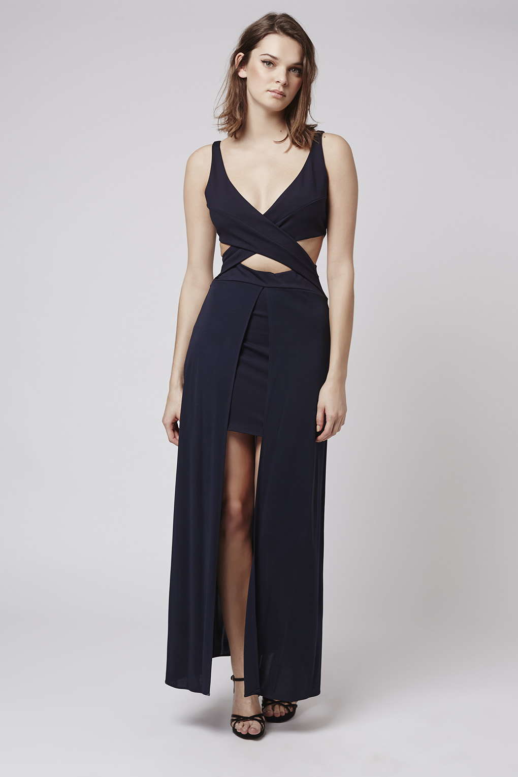 Topshop Cross Over Cut Out Maxi Dress in Blue - Lyst