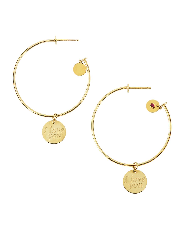 Lyst Roberto Coin I Love You Dangle Hoop Earrings In Metallic