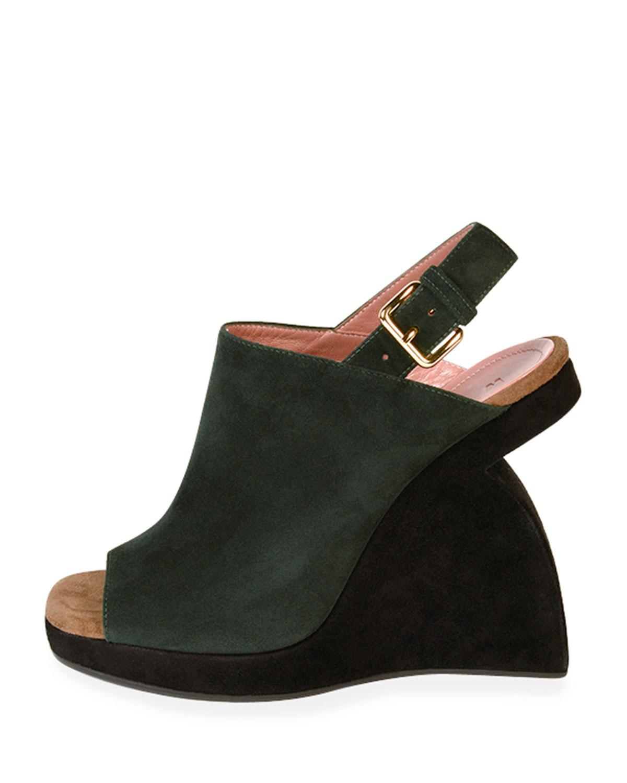 marni suede curved wedge slingback sandal in black