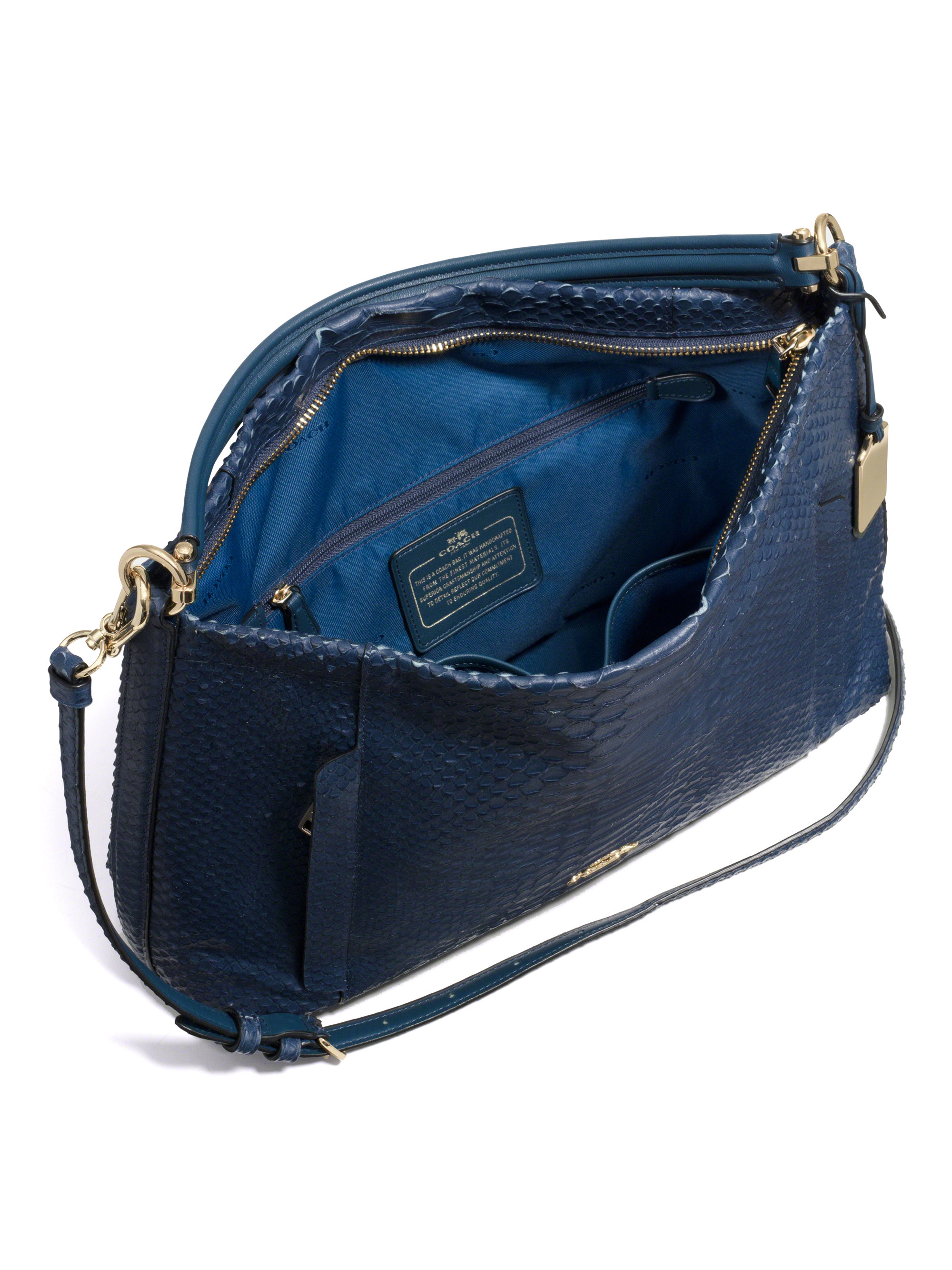 f829e205e6 Lyst - COACH Scout Python-Embossed Hobo Bag in Blue