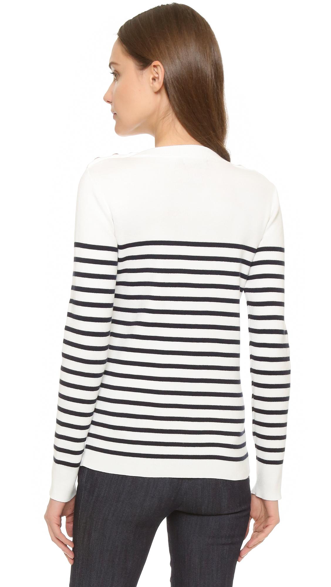 Lyst petit bateau knit striped sweater in white for Petit bateau striped shirt