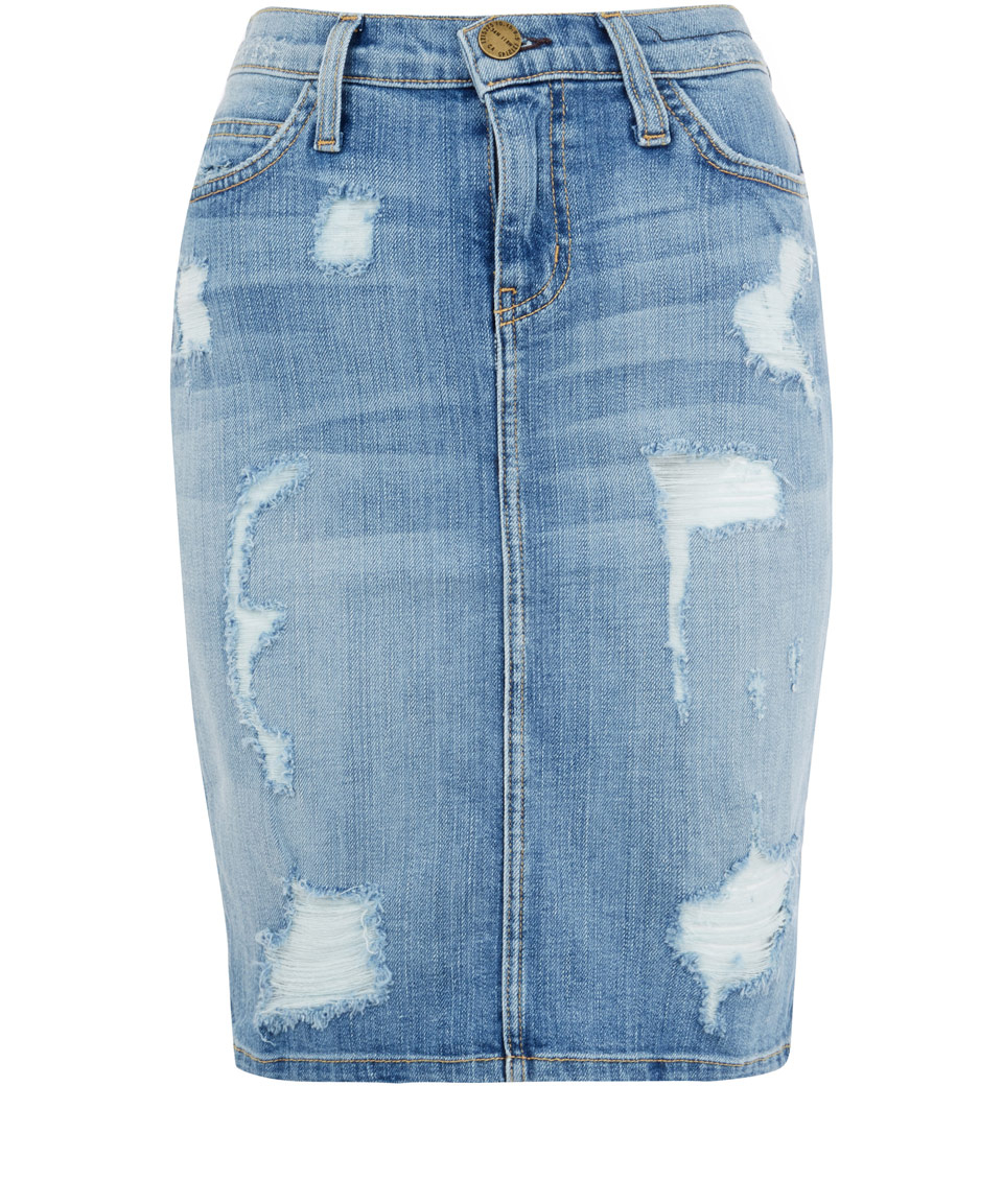 current elliott pencil distressed denim skirt in blue lyst