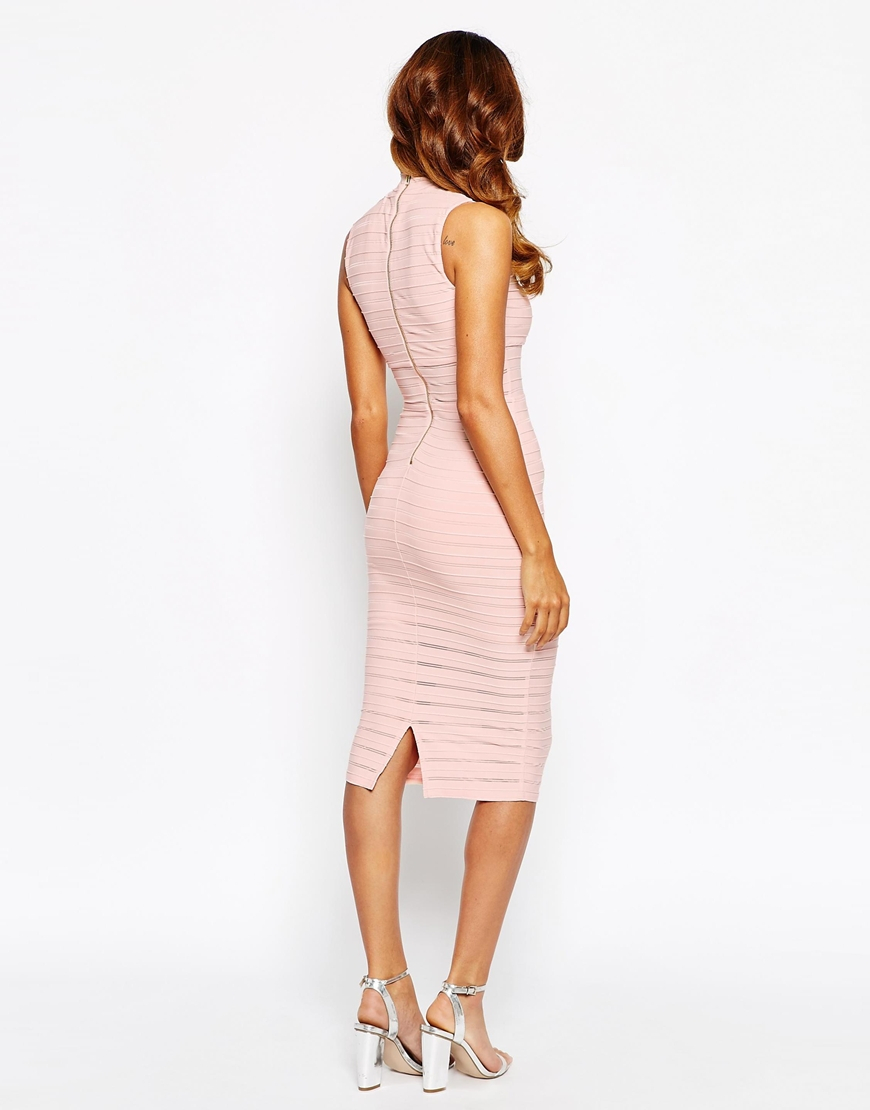 Lyst - Lipsy Sheer Panelled High Neck Bodycon Dress In Natural-5808