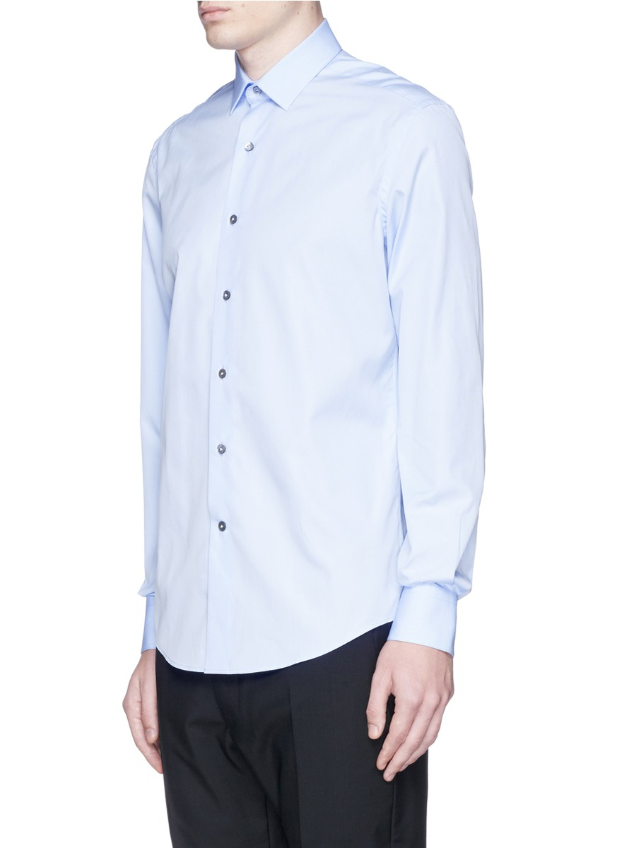 lanvin cotton poplin shirt in blue for men lyst